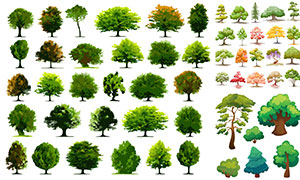 手绘灌木丛设计矢量素材