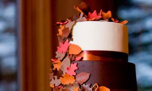 散漫巧克力的多层生日蛋糕摄影图片
