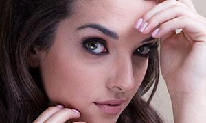 卷發造型妝容美女特寫攝影原片素材