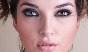 正面視角濃妝美女模特攝影原片素材