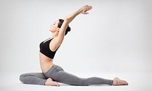 雙手合十瑜伽美女人物攝影高清圖片