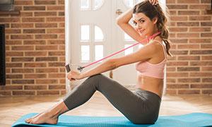 運動服飾健身美女人物攝影高清圖片