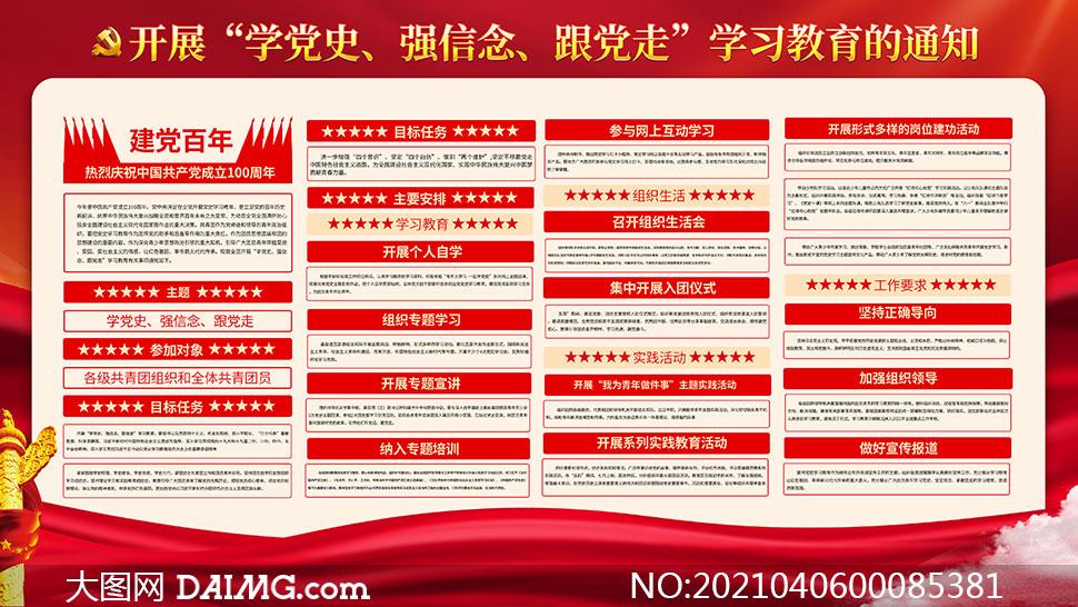 建党100周年学习党史宣传栏设计PSD素材