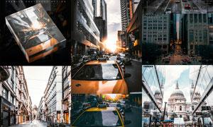 城市建筑添加冷色光線效果PS動作