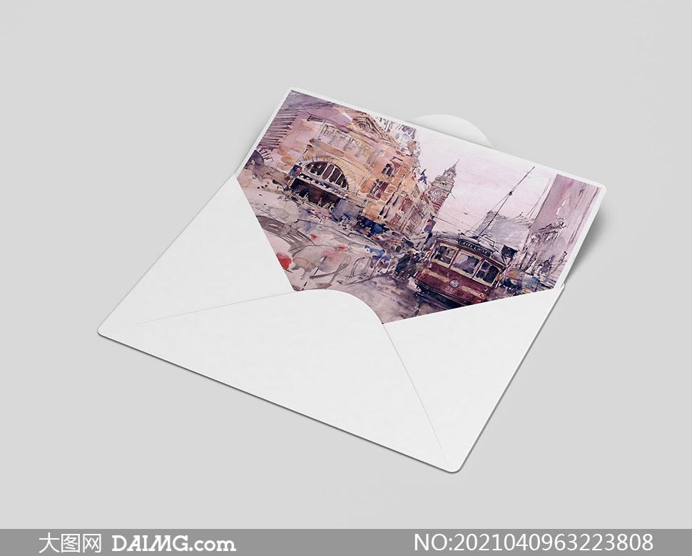 纸质封套里的绘画作品等样机源文件