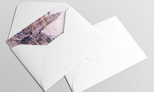 封套里的卡片纸张样机模板分层素材