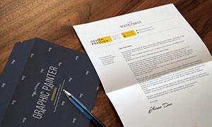 信封与折痕信纸样机模板分层源文件