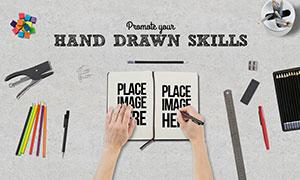 铅笔尺子等绘画场景样机模板源文件