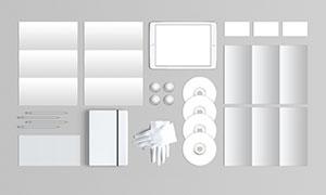 折页画册与光盘手机等样机模板素材