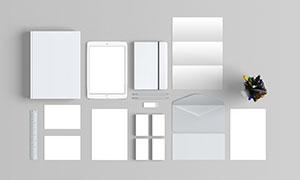 名片与折页等企业识别元素样机模板