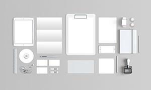 折页光盘与名片等样机元素模板素材