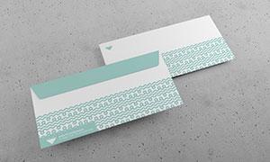 交错重叠的信封正反面样机模板素材
