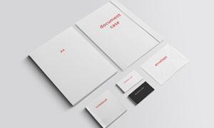 信封名片与记事本文件夹等样机模板