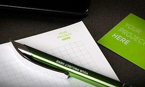 名片与纸笔元素样机模板分层源文件