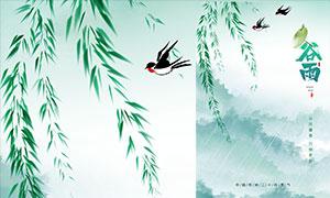 雨中的燕子主题谷雨节气海报PSD素材