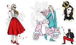紅裙子美女等人物插畫創意矢量素材