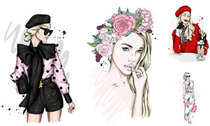 鮮花發飾美女等模特插畫創意矢量圖