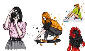 在玩滑板的美女等插畫創意矢量素材