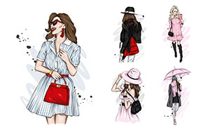 時尚服飾造型美女插畫創意矢量素材