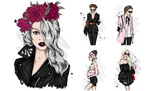 时尚浓妆美女模特人物插画矢量素材