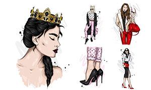 戴著皇冠的濃妝美女等插畫矢量素材