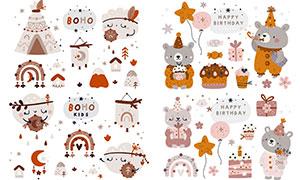 小熊与小屋等卡通创意设计矢量素材