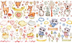 梅花鹿与考拉熊等可爱动物矢量素材