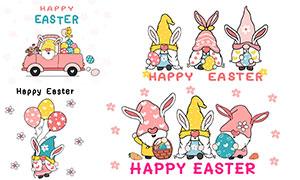 花朵与彩蛋等复活节卡通创意矢量图