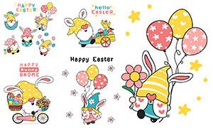 可爱小鸟与彩蛋等复活节创意矢量图