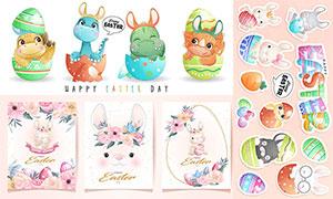 花草与兔子动物等插画创意矢量素材