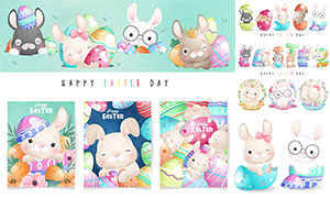 花草边框与兔子等卡通创意矢量素材