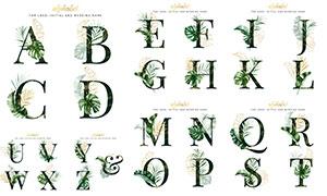 叶子元素装饰英文字母设计矢量素材