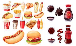 热狗汉堡包咖啡与酱料等主题矢量图