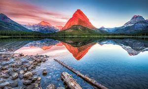 美麗的湖泊和湖邊漂浮的木材攝影圖片