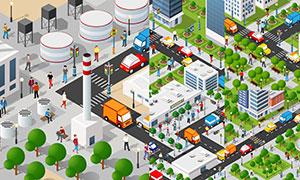 城市建筑景观绿化效果主题矢量素材