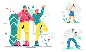 滑雪與網球等運動人物插畫矢量素材