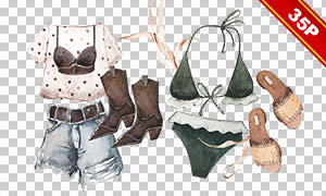 热裤比基尼等服饰物品免抠图片素材