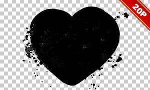 黑白效果心形元素蒙版边框免抠素材