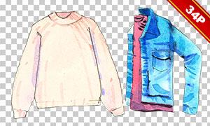 风衣与墨镜等服饰水彩免抠图片素材