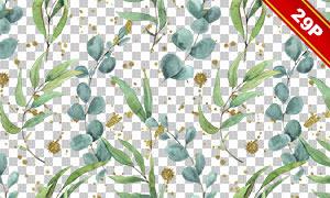 绿叶植物水彩创意免抠高清图片素材