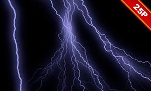 夜空中的閃電元素合成用圖片集V01