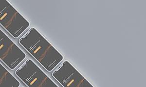 倾斜平铺效果智能手机样机模板素材