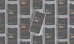平铺样式层级展现智能手机样机素材