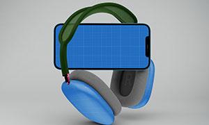 手机与头戴式耳机组合样机模板素材