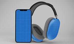 智能手机与耳机等组合展示样机素材
