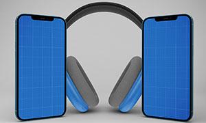 头戴式耳机与智能手机样机分层素材