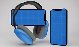 耳机与不同视角的手机展示样机模板