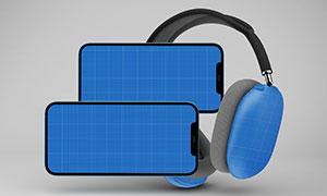 耳机与横向放置的手机样机模板素材