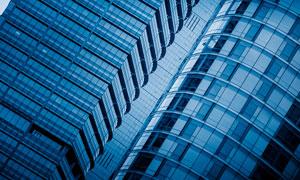 藍色的摩天大廈建筑物攝影圖片
