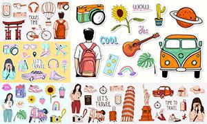 手绘风格旅行标签贴纸主题矢量素材